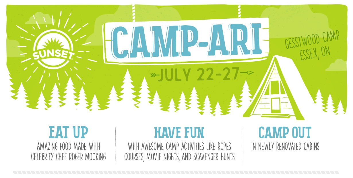 Camp-ari Gesstwood Camp Essex ON | July 22 - 27 | Eat up amazing food made with celebrity chef Roger Mooking | Have fun with awesome camp activities like ropes courses, movie nights, and scavenger hunts | Camp out in newly renovated cabins